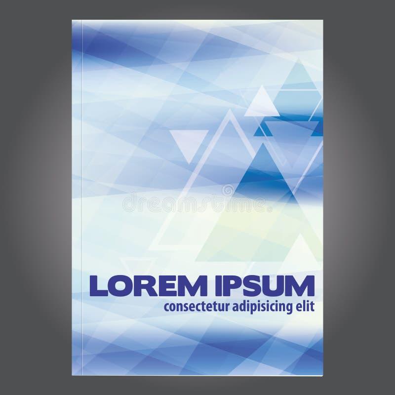 Abdeckungsentwurf für Broschüre oder Lehrbuch mit Dreiecken auf hellblauem Hintergrund lizenzfreie abbildung