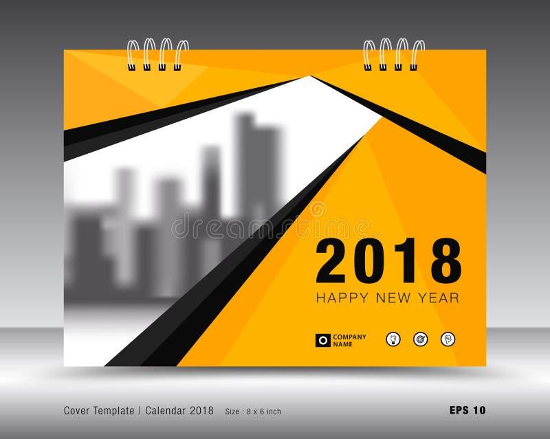 Abdeckungskalenderschablone 2018 Gelber Abdeckungsplan Geschäftsbroschüren-Fliegerdesign lizenzfreie abbildung