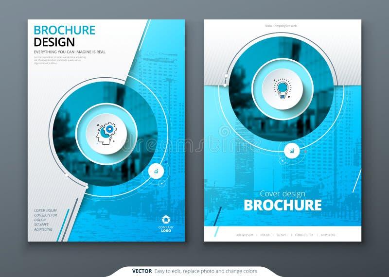 Abdeckungssatz Blaue Schablone für Broschüre, Fahne, plackard, Plakat, Bericht, Katalog, Zeitschrift, Flieger usw. Moderner Kreis vektor abbildung