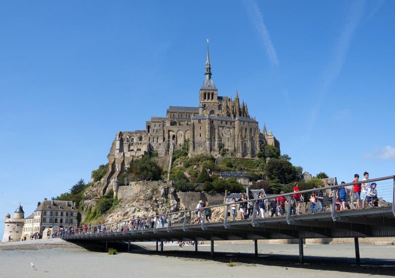 Abdij van Mont St Michel Mening van beroemd Le Mont Saint-Michel, Brittany Normandy France stock afbeeldingen