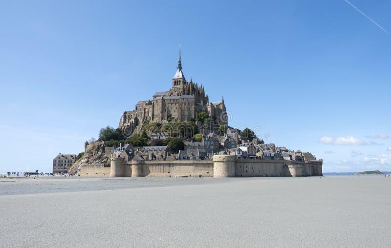 Abdij van Mont St Michel Mening van beroemd Le Mont Saint-Michel, Brittany Normandy France stock fotografie