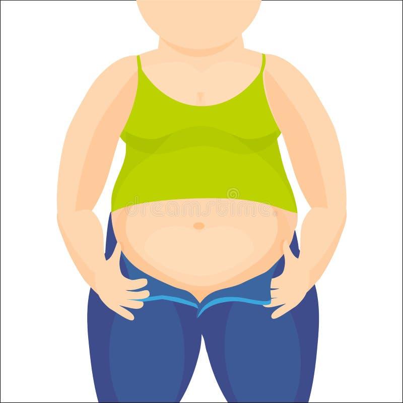 Abdomen gros, femme de poids excessif avec un grand ventre Illustration de vecteur illustration stock