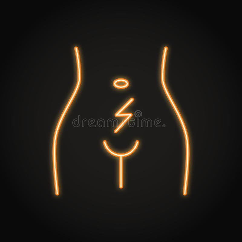 Abdominal cramps and pain icon in neon line style. Woman with menstrual pain. Uterus and ovary disorders. Vector isolated illustration with editable stroke stock illustration