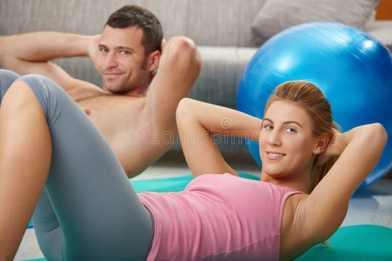 Abdominal exercise stock photos