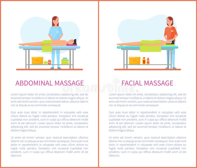 Abdominal, Facial Massage Session Cartoon Posters. Abdominal and facial medical massage session cartoon posters set with text. Masseur girl in uniform and royalty free illustration