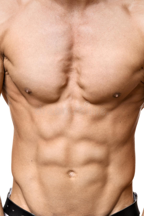 Abdominal muscle of young man royalty free stock photo