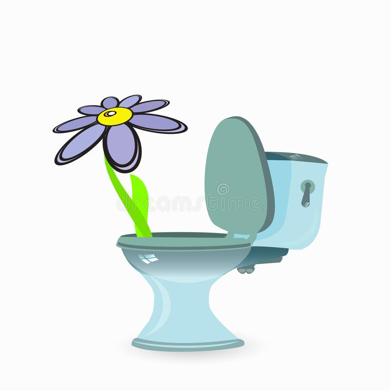Abdominal pain, indigestion. constipation. And diarrhea. illustration for your design. flower in the toilet stock illustration
