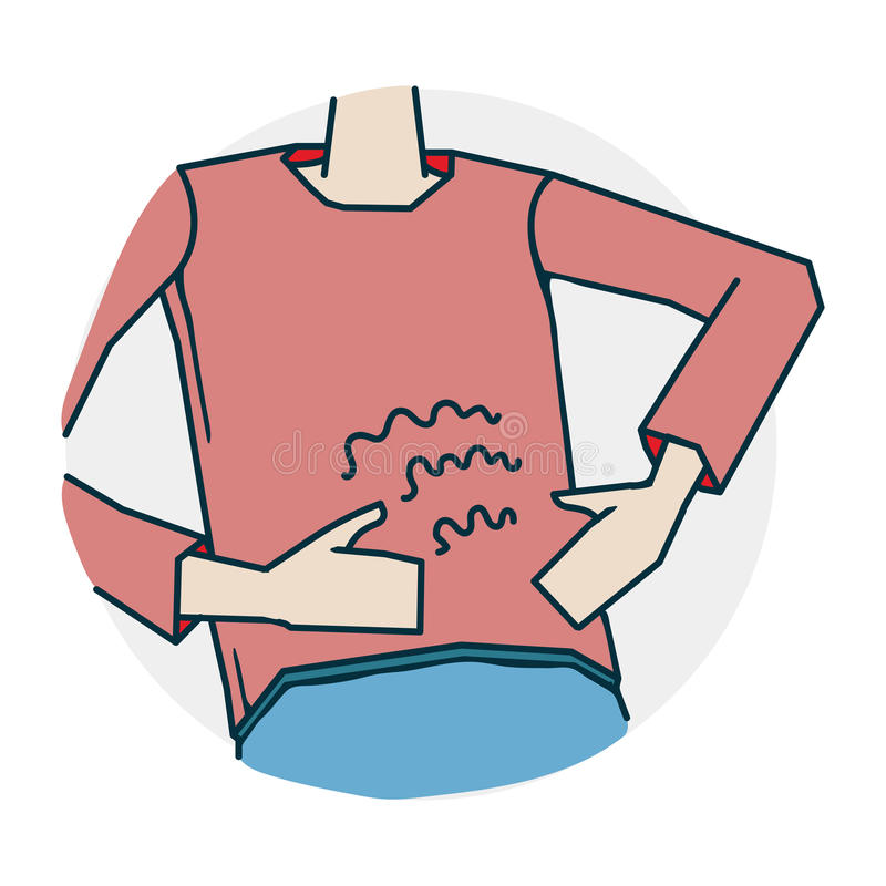 Abdominal pain or indigestion. Problems with hearing and deafness. Illustration of a funny cartoon style stock illustration