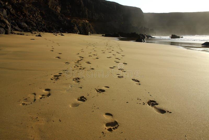 Abdrücke auf dem Strand stockfoto