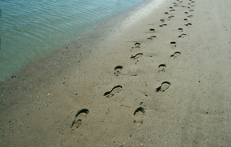 Abdrücke auf dem Ufer stockfotografie