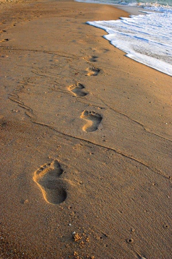 Abdrücke im Sand stockbild
