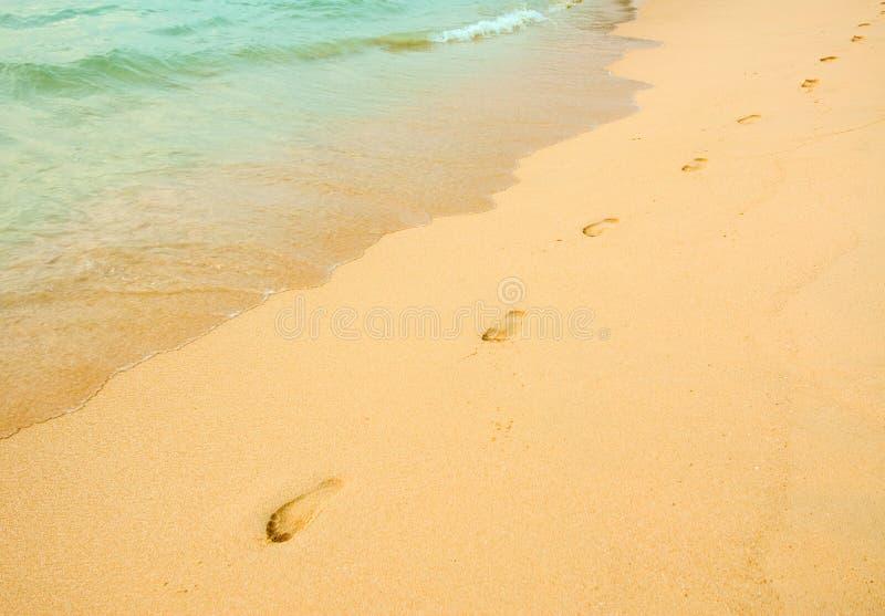 Abdrücke im Strand lizenzfreie stockfotos