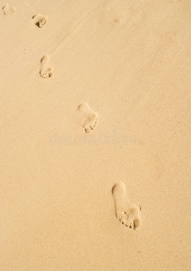 Abdruck auf Sand stockbild