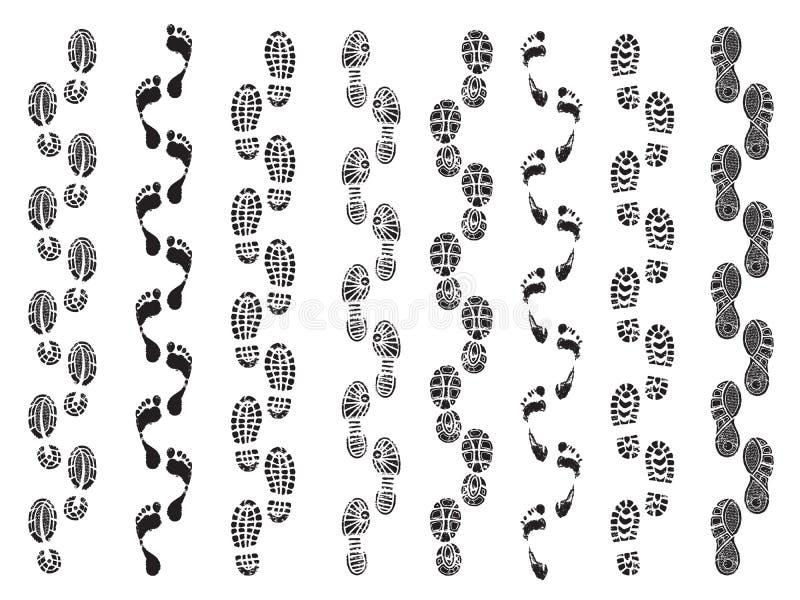 Abdruckformen Bewegungsrichtung von den menschlichen Schuhstiefeln, die Abdruckvektorschattenbilder gehen vektor abbildung