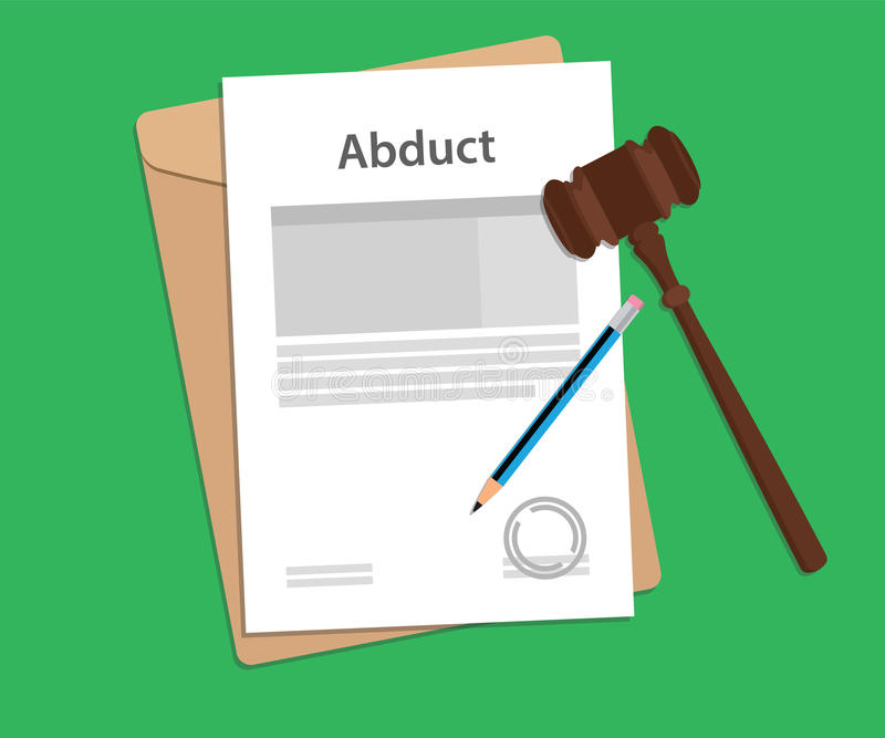 Abduct text on stamped paperwork illustration with judge hammer and folder document with green background vector illustration