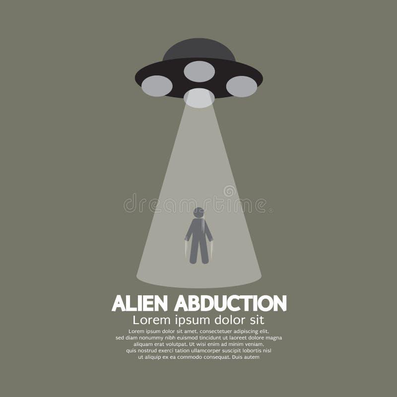 Abduction étrangère avec le vaisseau spatial d'UFO illustration stock