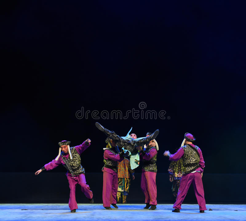 "Abduction-Children's Beijing Opera""Yue teenager"". The story happened in the history of the Northern Song Dynasty, the people in the fierce collision stock photos"
