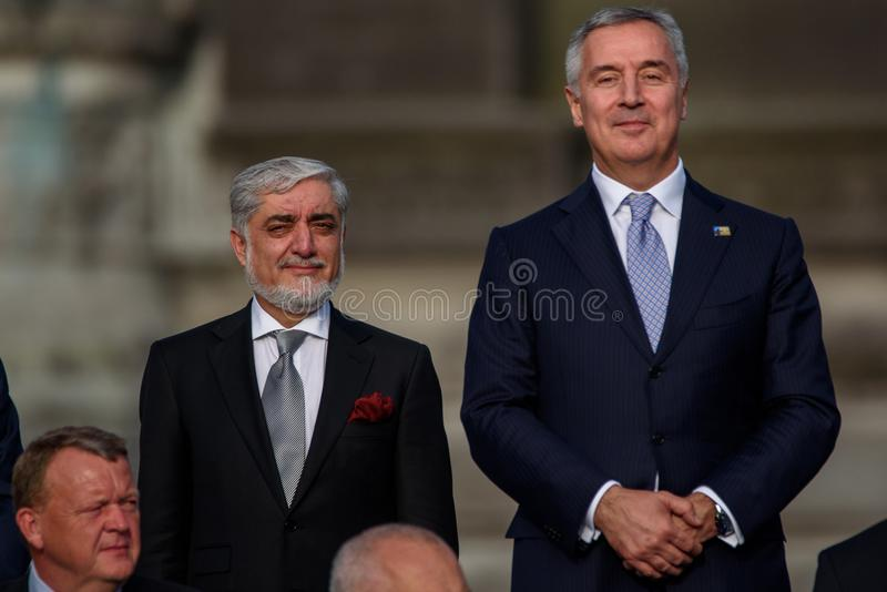 Abdullah Abdullah, szef Executiec Islamska republika Afganistan i Milo Dukanovic, Pierwszorzędny minister Montenegro zdjęcie stock