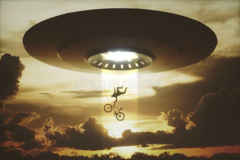 Abduzione dello straniero del UFO illustrazione vettoriale