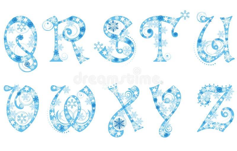 abecadła bożych narodzeń płatek śniegu royalty ilustracja