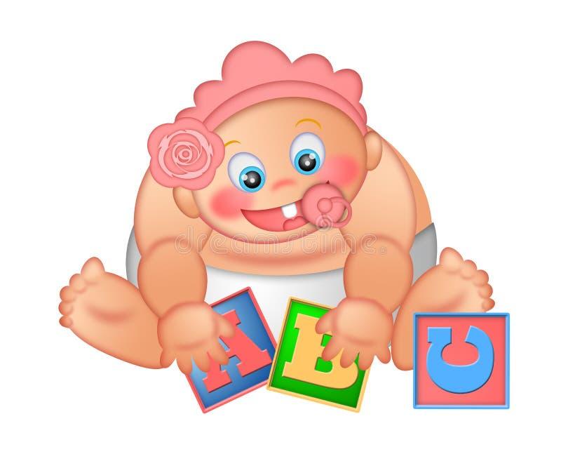 abecadła dziecko blokuje dziewczyny bawić się ilustracja wektor