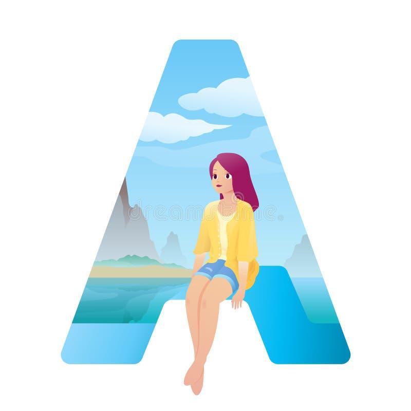 Abecadła A dziewczyna na plaży ilustracja wektor
