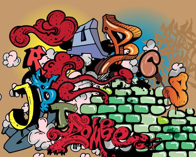 abecadła elementów graffiti ilustracja wektor