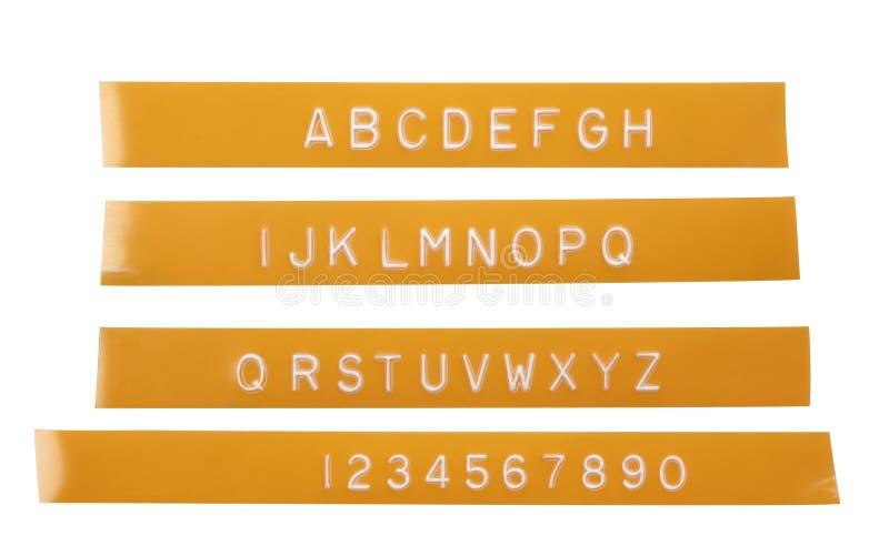 abecadła etykietowania listu pomarańczowa poncza taśma fotografia stock