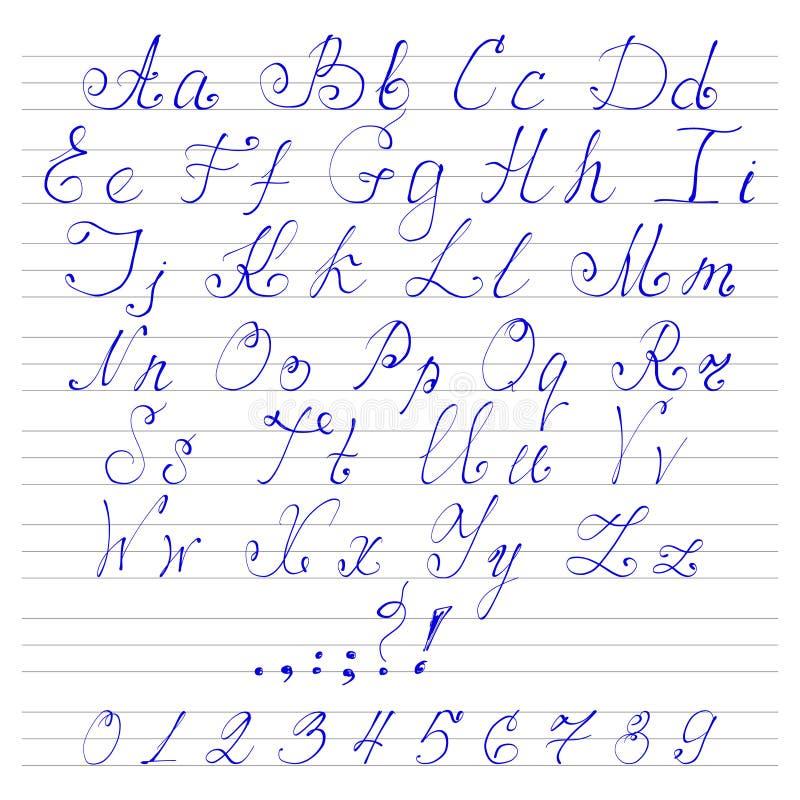 Abecadła handwriting chrzcielnicy royalty ilustracja