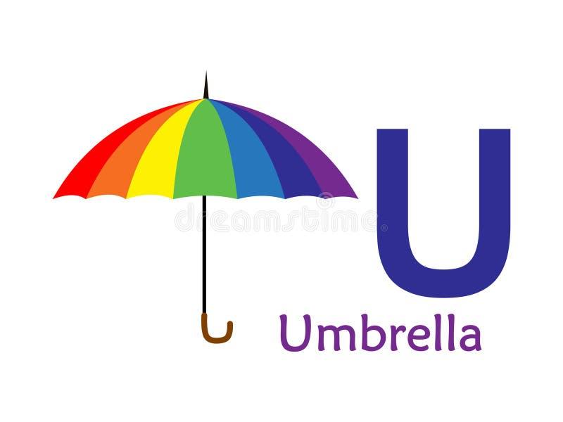 Abecadła słowo U U dla parasola ilustracja wektor