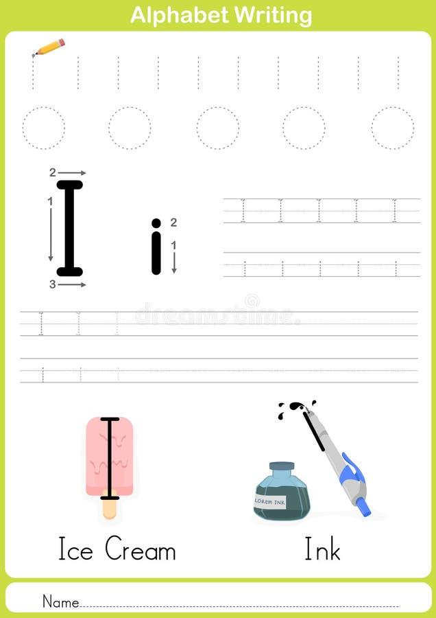Abecadła A-Z kalkowania Worksheet, ćwiczenia dla dzieciaków - A4 papierowy przygotowywający druk ilustracja wektor