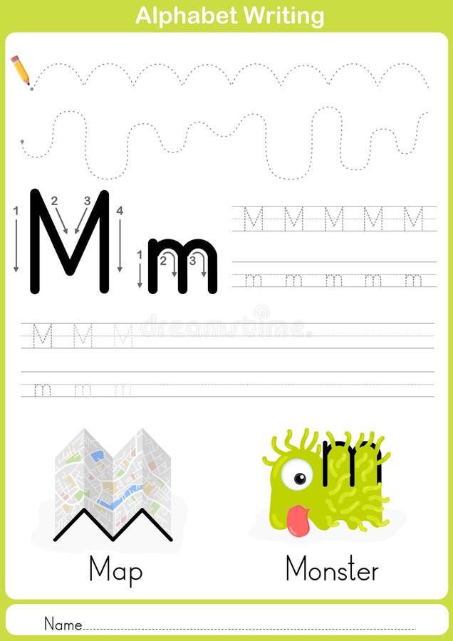 Abecadła A-Z kalkowania Worksheet, ćwiczenia dla dzieciaków - A4 papierowy przygotowywający druk ilustracji