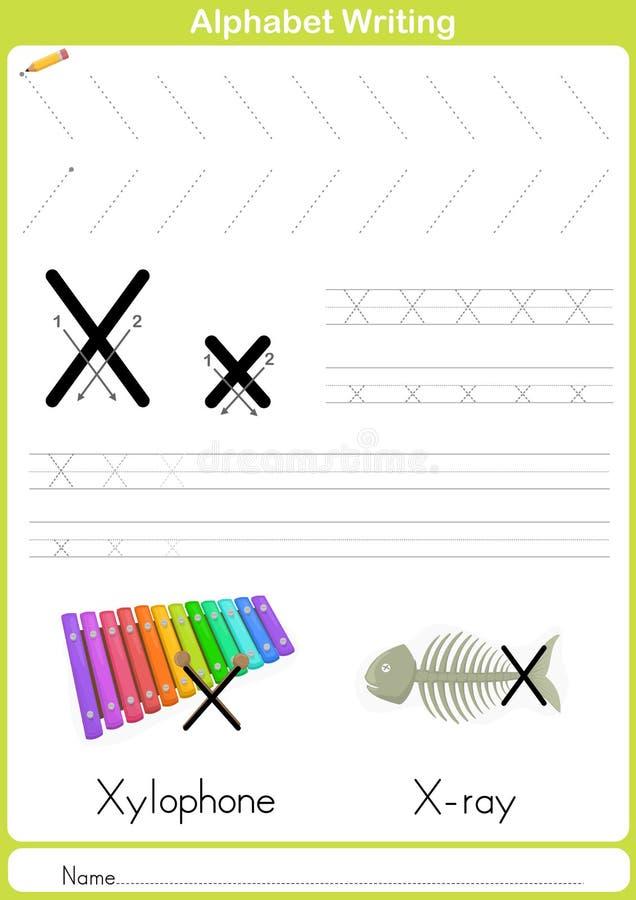 Abecadła A-Z kalkowania Worksheet, ćwiczenia dla dzieciaków - A4 papierowy przygotowywający druk royalty ilustracja