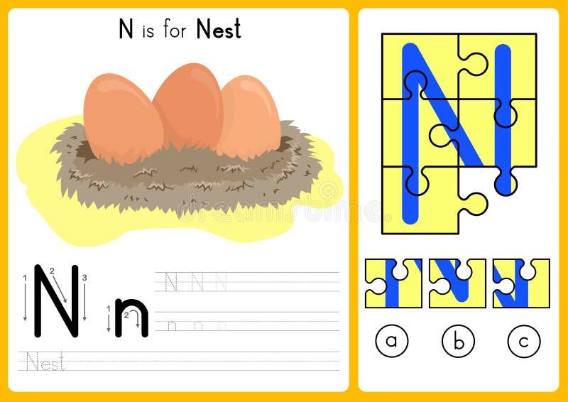 Abecadła A-Z kalkowanie, łamigłówki Worksheet, ćwiczenia dla dzieciaków i wektor, - ilustracja ilustracja wektor
