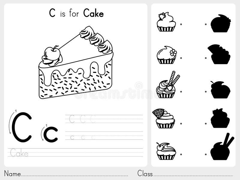Abecadła A-Z kalkowanie i łamigłówki Worksheet, ćwiczenia dla dzieciaków - kolorystyki książka ilustracja wektor