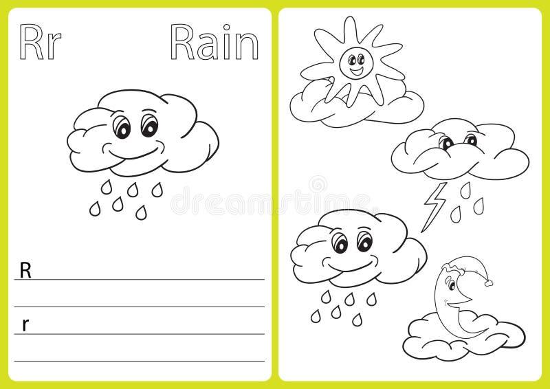 Abecadła A-Z kolorystyki książka - intryguje Worksheet, ćwiczenia dla dzieciaków - ilustracja wektor