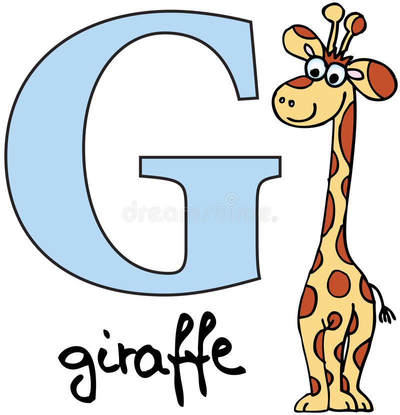 abecadła zwierzęca g żyrafa ilustracja wektor