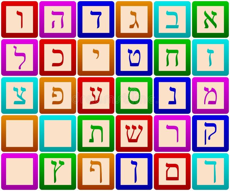 abecadło blokuje hebrew royalty ilustracja