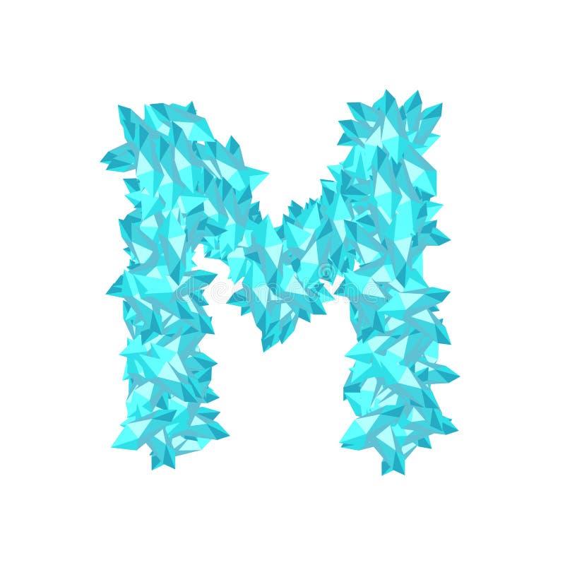 Abecadło diamentu 3D setu listu M Krystaliczna wirtualna ilustracja ilustracji