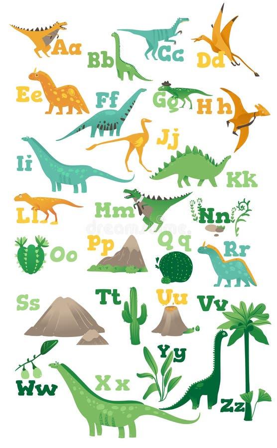 Abecadło dla dzieci z ślicznymi kreskówka dinosaurami, antyczni volcanoes, góry i rośliny w mieszkaniu, projektujemy royalty ilustracja