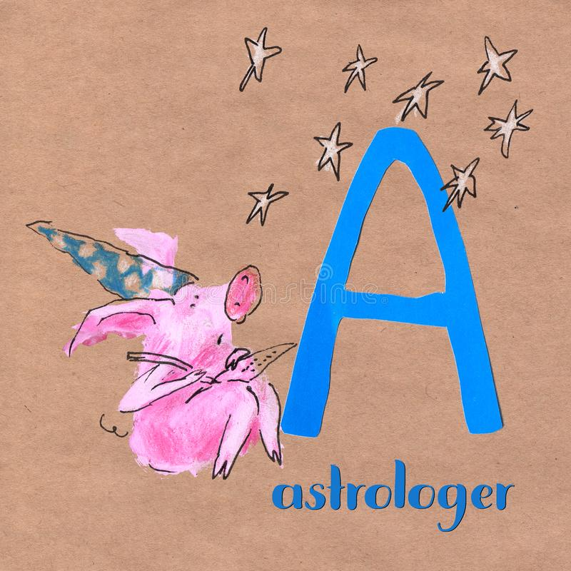 Abecadło dla dzieci z świniowatym zawodem Pisze list A astrolog royalty ilustracja
