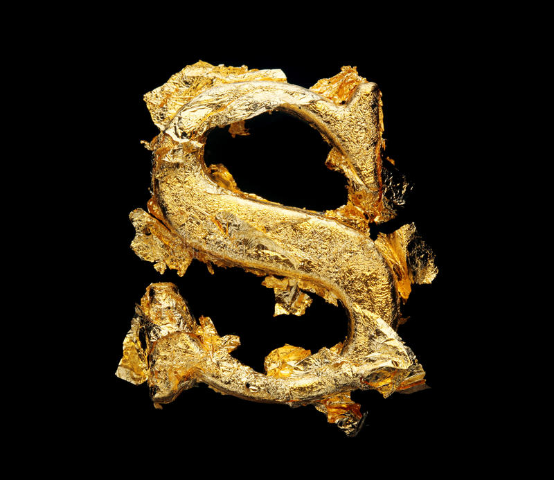 Abecadło i liczby w szorstkim złocistym liściu zdjęcie royalty free