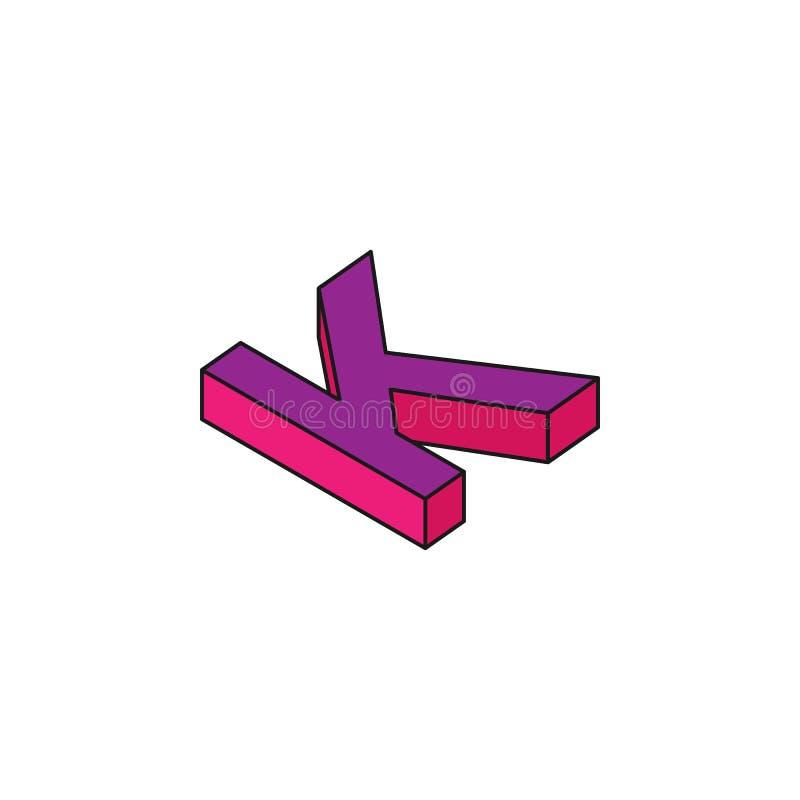 abecadło K, 3D barwił isometric ikonę Element 3d słowa i symbol ikona dla mobilnych apps pojęcia i sieci Isometric abecadło K ilustracja wektor