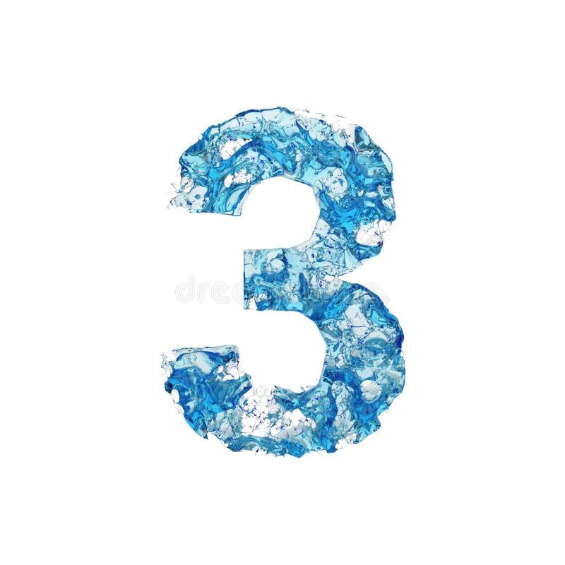 Abecadło liczba 3 Ciekła chrzcielnica robić błękitna przejrzysta woda 3d odpłacają się odosobniony na białym tle ilustracja wektor