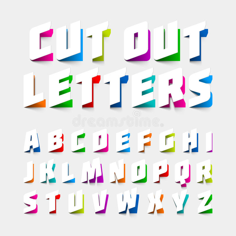 Abecadło listy ciący out od papieru ilustracji