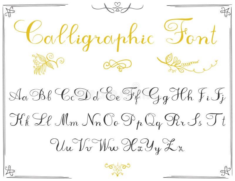Abecadło listy, ręka rysująca kaligrafii chrzcielnica scrapbooking wektor abecadło elementy Wręcza pisać listy abecadła i dekorac ilustracja wektor