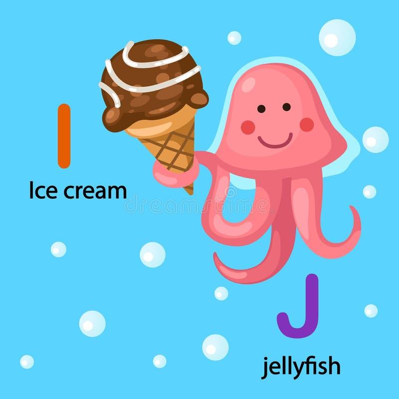 Abecadło lodu Listowa śmietanka, Jellyfish royalty ilustracja