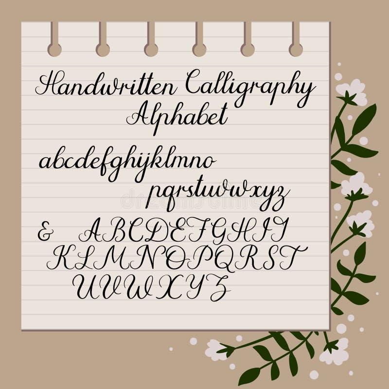 abecadło ręcznie pisany Nowożytna kaligrafia Uppercase, lowercase listy, Ręka Rysujący pismo ilustracji