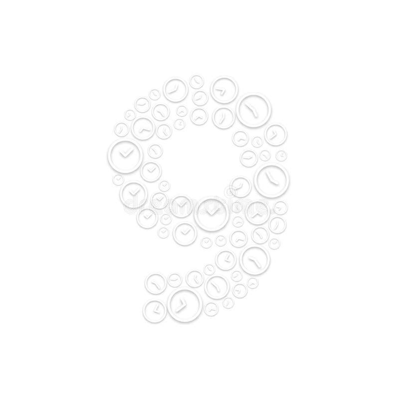 Abecadło setu list liczba dziewięć, 9 lub, Zegarowy tasowanie wzór, czasu systemu pojęcia projekta ilustracja odizolowywająca na  royalty ilustracja