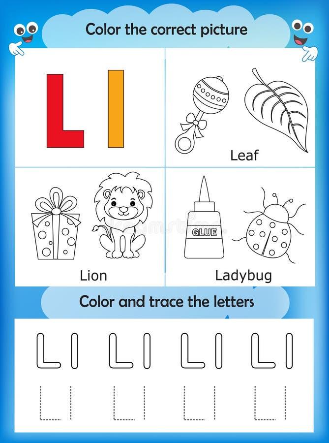 Abecadło uczenie listowy L i kolor ilustracji